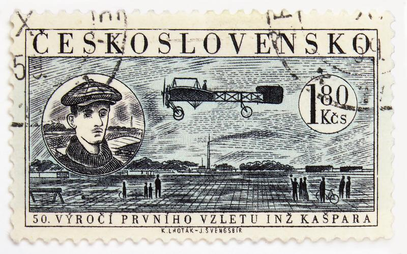 Portrait of Jan Kaspar, First Flight of Jan Kaspar, 50th Anniversary serie, circa 1959. MOSCOW, RUSSIA - JULY 15, 2019: Postage stamp printed in Czechoslovakia royalty free stock images