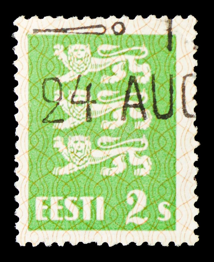 Coat of Arms, definitives serie, circa 1928. MOSCOW, RUSSIA - JULY 19, 2019: Postage stamp printed in Estonia shows Coat of Arms, definitives serie, circa 1928 royalty free stock images