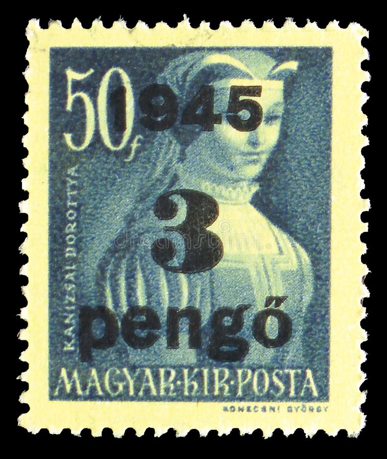 Dorottya Kanizsai -1531 heroin, Surcharged serie, circa 1945. MOSCOW, RUSSIA - JULY 19, 2019: Postage stamp printed in Hungary shows Dorottya Kanizsai -1531 stock image