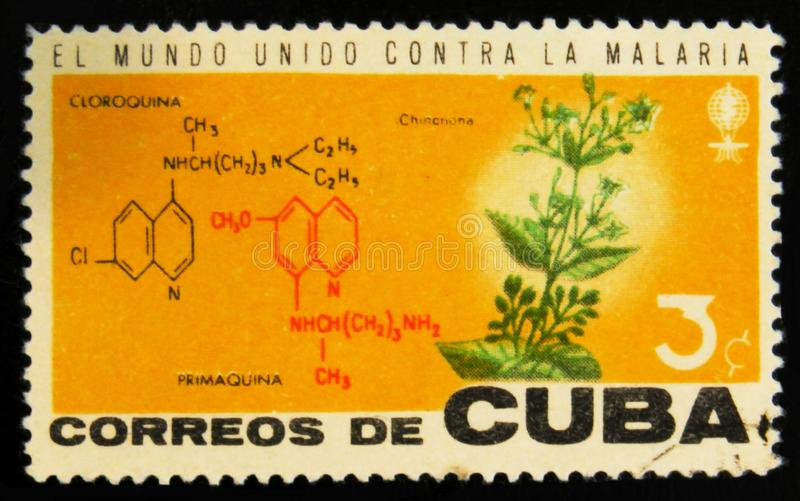 MOSCOW, RUSSIA - JULY 15, 2017: Rare stamp printed in Cuba shows. Cinchona flower plant and crystal lattice structure of Cloroquina and Primaquina, Fight stock images