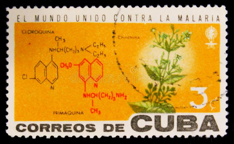 MOSCOW, RUSSIA - JULY 15, 2017: Rare stamp printed in Cuba shows. Cinchona flower plant and crystal lattice structure of Cloroquina and Primaquina, Fight stock image