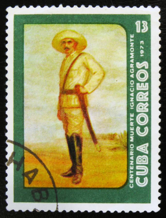 MOSCOW, RUSSIA - JULY 15, 2017: Rare stamp printed in Cuba shows. Portrait of Ignacio Agramonte, Cuban revolutionary, 100th years of death, circa 1973 royalty free stock photography