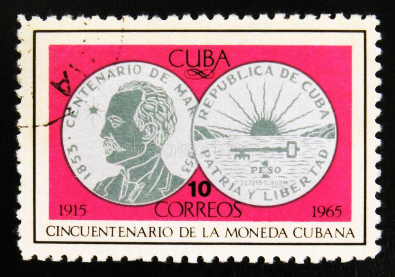 MOSCOW, RUSSIA - JULY 15, 2017: Rare stamp printed in Cuba shows. Silver coin one Peso, 100 years of J. Marti, 50th Anniversary of Cuban currency, circa 1965 stock photos