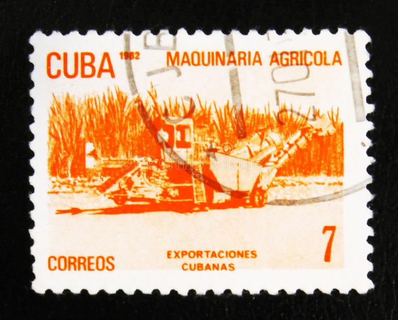 MOSCOW, RUSSIA - JULY 15, 2017: A stamp printed in Cuba shows ag. Ricultural machinery, Cuban export, circa 1982 stock image