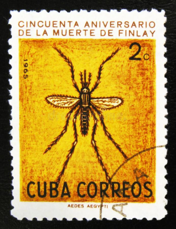 MOSCOW, RUSSIA - JULY 15, 2017: A stamp printed in Cuba shows An. Opheles mosquito, 50th Anniversary of the Death of Carlos J. Finlay, Malaria Researcher, circa stock images