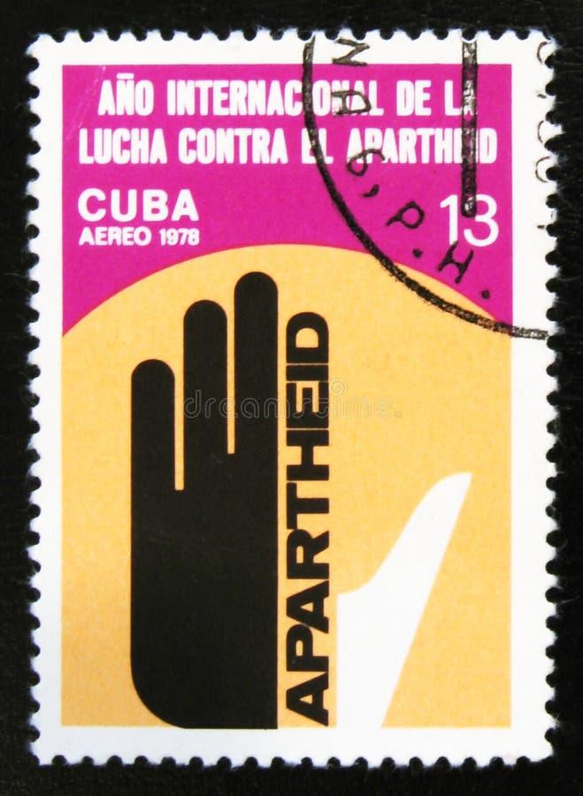 Anti Apartheid Year, circa 1978. MOSCOW, RUSSIA - JULY 15, 2017: A stamp printed in Cuba shows Anti Apartheid Year, circa 1978 royalty free stock photos