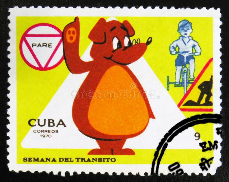 MOSCOW, RUSSIA - JULY 15, 2017: A stamp printed in Cuba shows Be. Ar for traffic regulations, Circa 1970 royalty free stock image