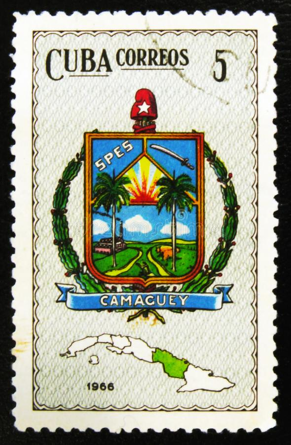 MOSCOW, RUSSIA - JULY 15, 2017: A stamp printed in Cuba shows Ca. Maguey province coat of Arms, circa 1966 stock image