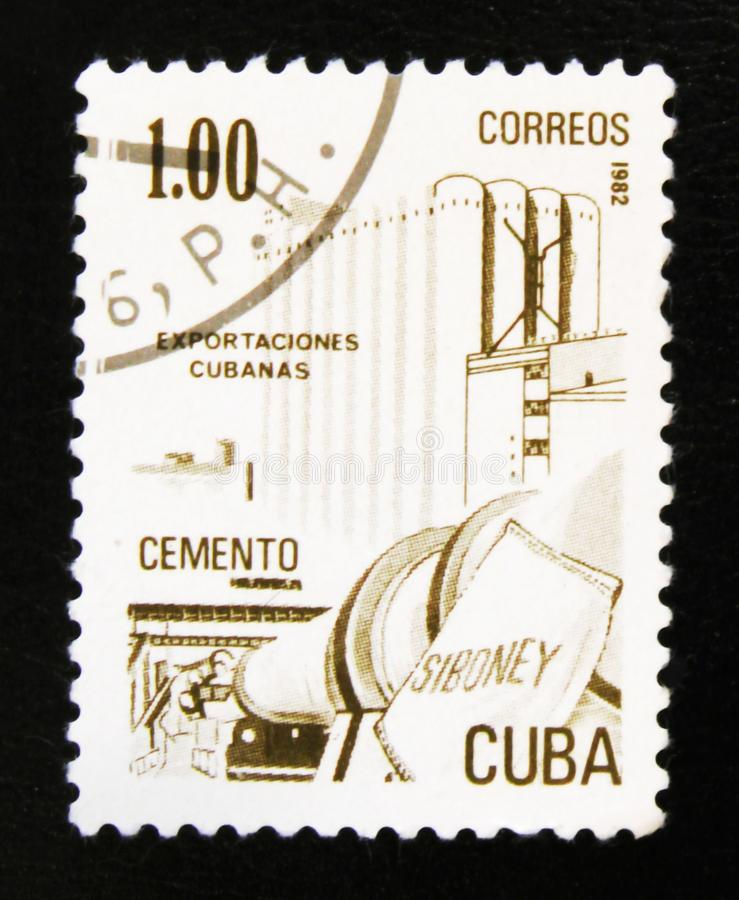 MOSCOW, RUSSIA - JULY 15, 2017: A stamp printed in Cuba shows ce. Ment, Cuban export, circa 1982 royalty free stock image
