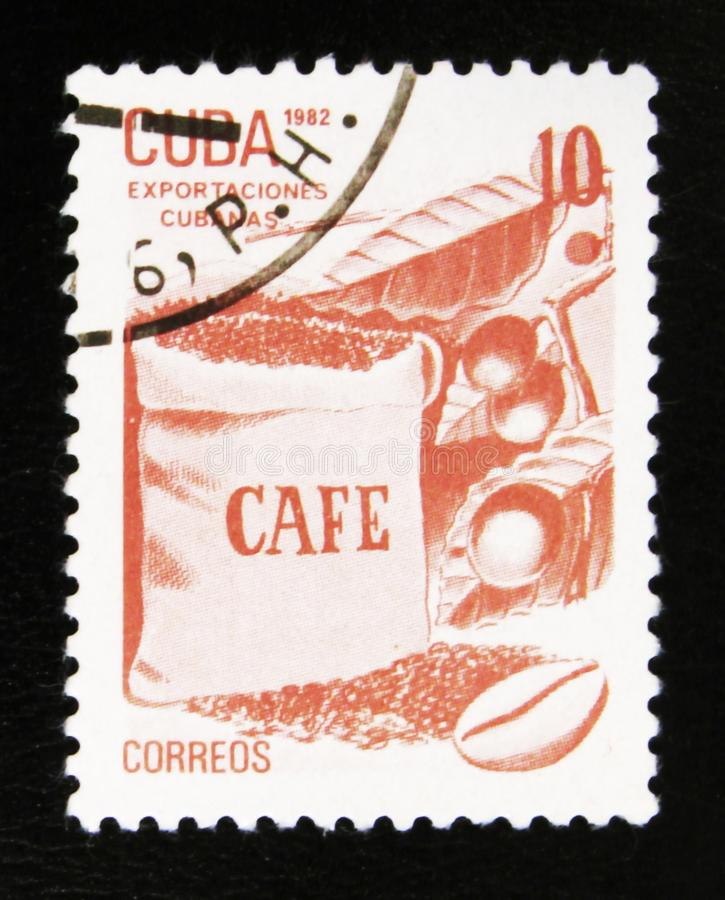 MOSCOW, RUSSIA - JULY 15, 2017: A stamp printed in Cuba shows co. Ffee, Cuban export products, circa 1982 stock photos