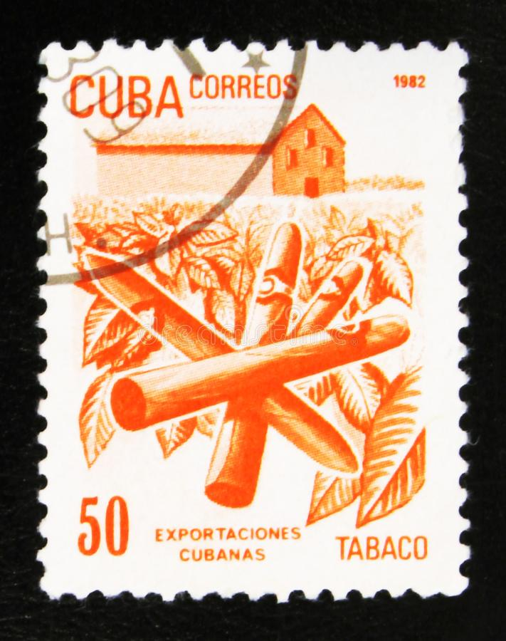 MOSCOW, RUSSIA - JULY 15, 2017: A stamp printed in Cuba shows Cu. Ban export products: Tobacco, with inscription and name of series Cuban Export, circa 1982 royalty free stock image