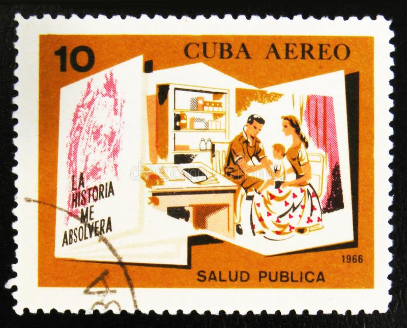 MOSCOW, RUSSIA - JULY 15, 2017: A stamp printed in Cuba shows Do. Ctor and family with the inscription Public health from the series Conquests of the Revolution royalty free stock photography
