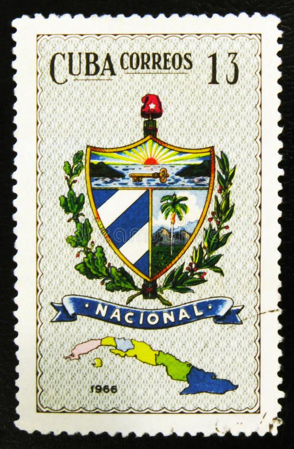 MOSCOW, RUSSIA - JULY 15, 2017: A stamp printed in Cuba shows ma. Ps of Cuban Provinces, circa 1966 stock photos
