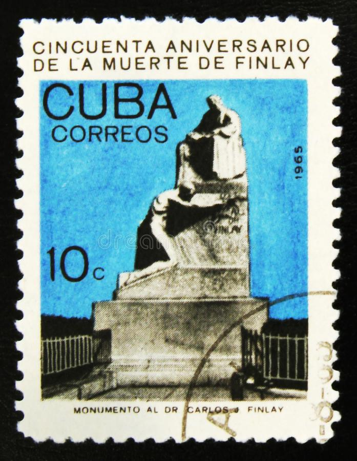 MOSCOW, RUSSIA - JULY 15, 2017: A stamp printed in Cuba shows a. Monument to C. Finlay, 50th Anniversary of the Death of Carlos J. Finlay, Malaria Researcher stock photo