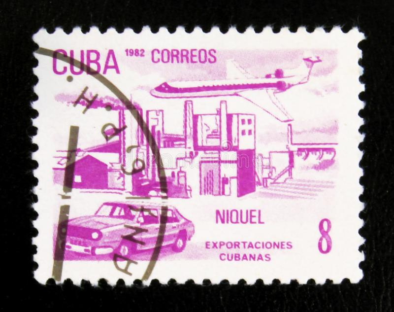 MOSCOW, RUSSIA - JULY 15, 2017: A stamp printed in Cuba shows Ni. Ckel, Cuban Export, circa 1982 royalty free stock photography