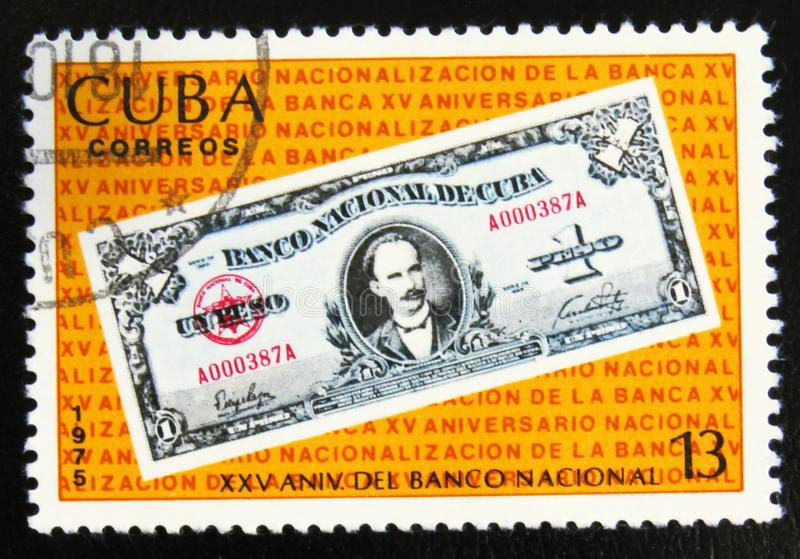 MOSCOW, RUSSIA - JULY 15, 2017: A stamp printed in Cuba shows On. E peso banknote, image of a from the series National Bank of Cuba, circa 1975 royalty free stock image