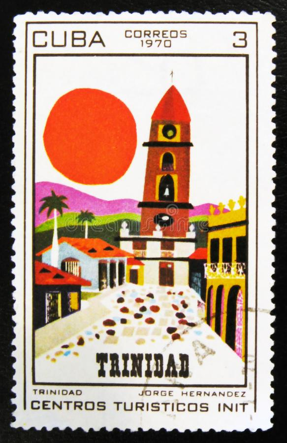 MOSCOW, RUSSIA - JULY 15, 2017: A stamp printed in Cuba shows pa. Inting Trinidad by Jorge Hernandez, series tourist centers, circa 1970 royalty free stock photography