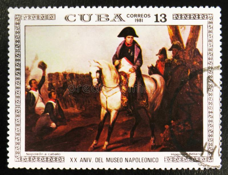 MOSCOW, RUSSIA - JULY 15, 2017: A stamp printed in Cuba shows pa. Inting Napoleon on Horseback by Hippolyte Bellange, from the series Paintings in the Napoleon stock photo