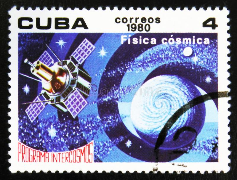 MOSCOW, RUSSIA - JULY 15, 2017: A stamp printed in Cuba shows Ph. Isics in space, Space Program of the Soviet Union, Intercosmos, circa 1980 stock photography