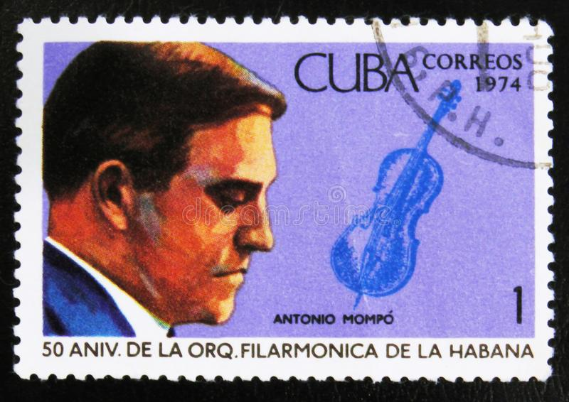MOSCOW, RUSSIA - JULY 15, 2017: A stamp printed in Cuba shows th. E portrait of a musician - violinist Antonio Mompo, circa 1974 stock photo
