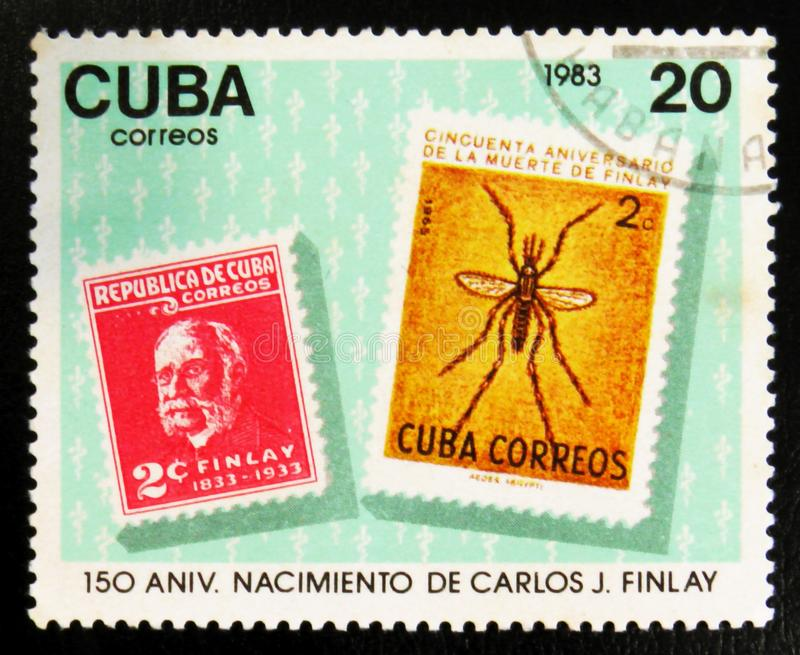 MOSCOW, RUSSIA - JULY 15, 2017: A stamp printed in Cuba shows st. Amps with mosquito and portrait of Carlos J. Finlay, 150 anniversary, circa 1983 royalty free stock photo
