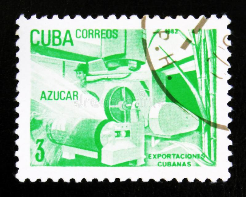 MOSCOW, RUSSIA - JULY 15, 2017: A stamp printed in Cuba shows Sugar, Cuban export products, circa 1982 stock photography
