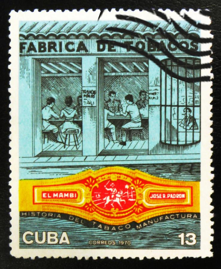 MOSCOW, RUSSIA - JULY 15, 2017: A stamp printed in Cuba shows Workers on tobacco factory, circa 1970 royalty free stock image