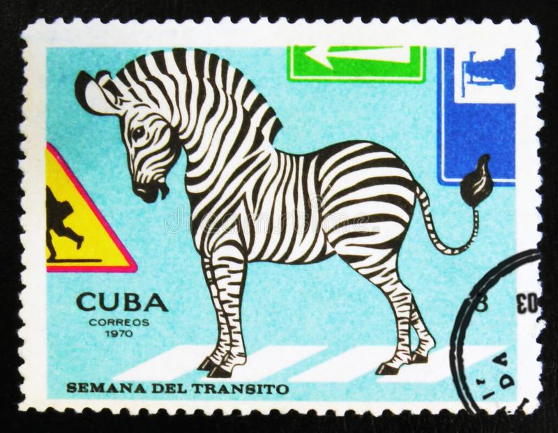 MOSCOW, RUSSIA - JULY 15, 2017: A stamp printed in Cuba shows Zebra for traffic regulations, Circa 1970 royalty free stock image