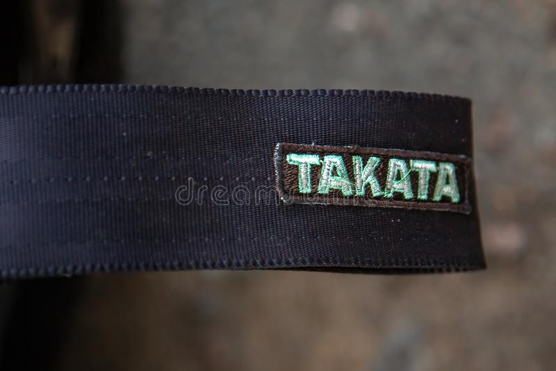 Moscow, Russia - July 06, 2019: Takata safety seat belts. Close-up royalty free stock photos