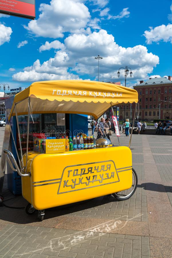 Moscow, Russia - July 24. 2017. Tent for the sale of hot corn near Leningrad station. Moscow, Russia - July 24. 2017. Tent for the sale of hot corn near the stock photography