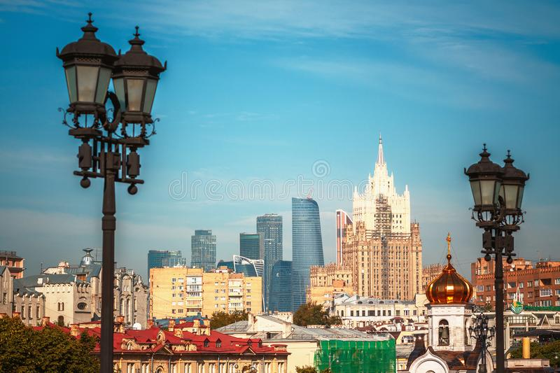 View of Moscow International Business Center and Ministry of Foreign Affairs. MOSCOW, RUSSIA - July 26, 2017: View of Moscow International Business Center and stock photos