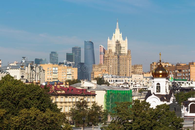 View of Moscow International Business Center and Ministry of Foreign Affairs. MOSCOW, RUSSIA - July 26, 2017: View of Moscow International Business Center and royalty free stock photos