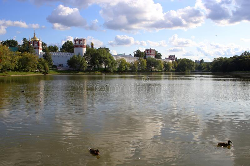Walls and towers of the Novodevichy Convent and Big Novodevichy Pond stock photography