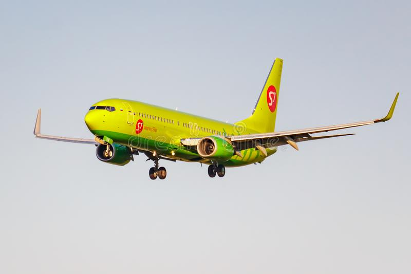 Moscow, Russia - June 20, 2019: Aircraft Boeing 737-8GJWL VQ-BVM of S7 Siberia Airlines landing at Domodedovo international royalty free stock photo