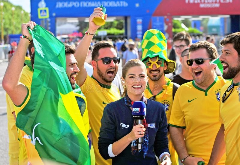 Brazilian fans and news maker at FIFA Fan Fest World Cup 2018, M royalty free stock image