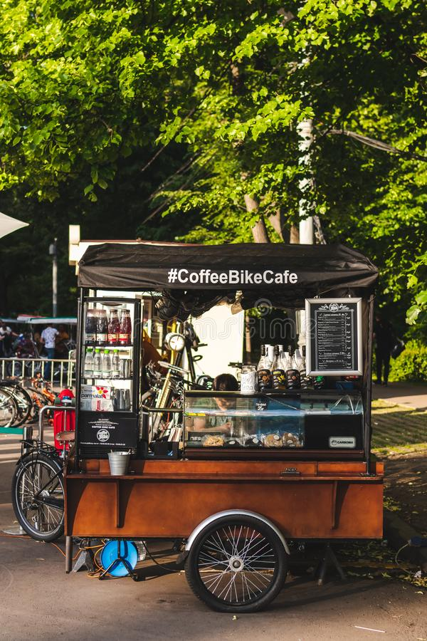 MOSCOW, RUSSIA - JUNE 2, 2019: Coffee kiosk outdoor at Sokolniki park. royalty free stock images