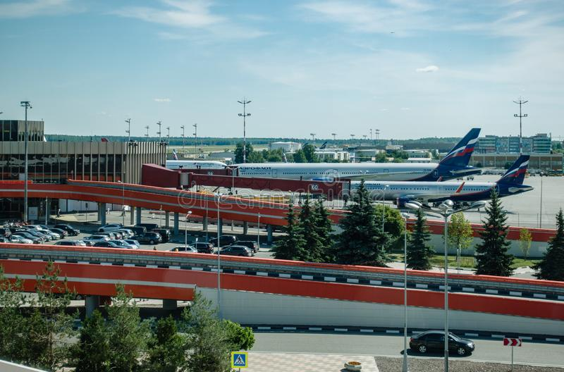 `F` terminal of Airport Sheremetyevo in Moscow, Russia. View from business lounge stock images