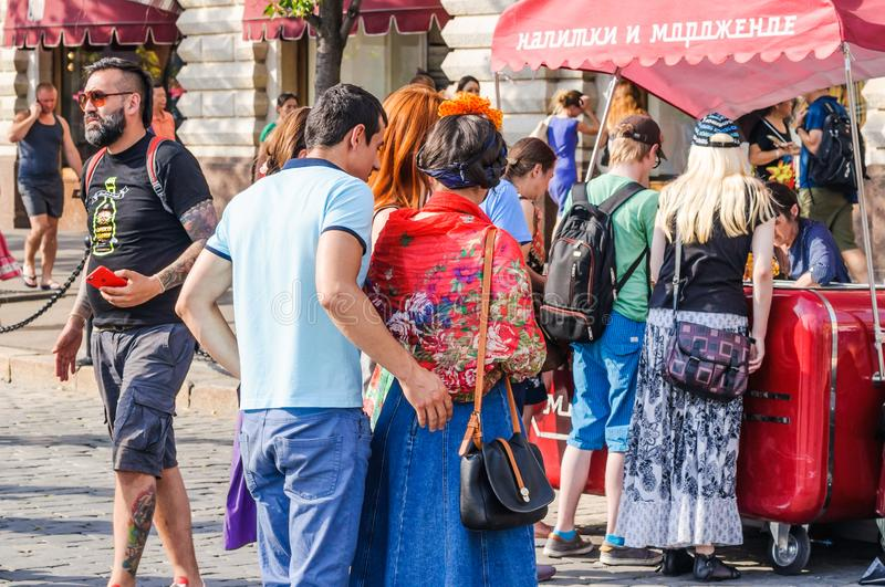 The 2018 FIFA World Cup. Foreign fans stand in line for ice cream and drinks on Red square royalty free stock photos