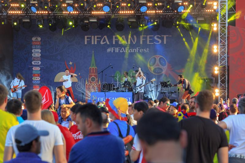 Moscow, Russia - June 28, 2018: Football fans near of main stage of FIFA Fan Fest 2018 after football match royalty free stock photography