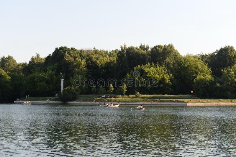 Grand Palace pond in the Moscow estate `Kuskovo`. MOSCOW, RUSSIA - JUNE 19, 2019:Grand Palace pond in the Moscow estate `Kuskovo royalty free stock photo