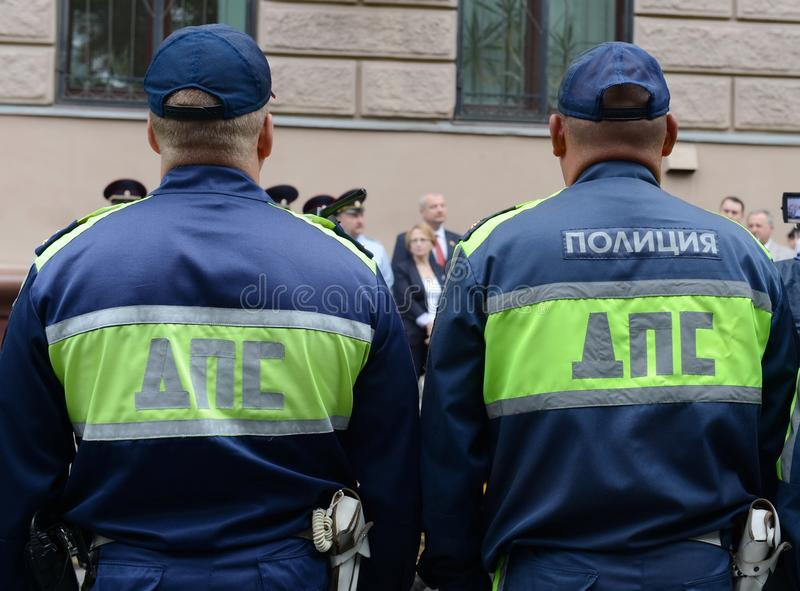 Inspectors of the road police patrol service at the briefing. MOSCOW, RUSSIA - JUNE 20, 2015:Inspectors of the road police patrol service at the briefing royalty free stock photos