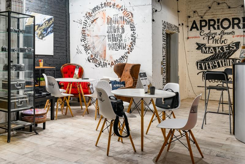 Moscow, Russia - June 13, 2019: Interior design of Industrial loft style cafe stock photo