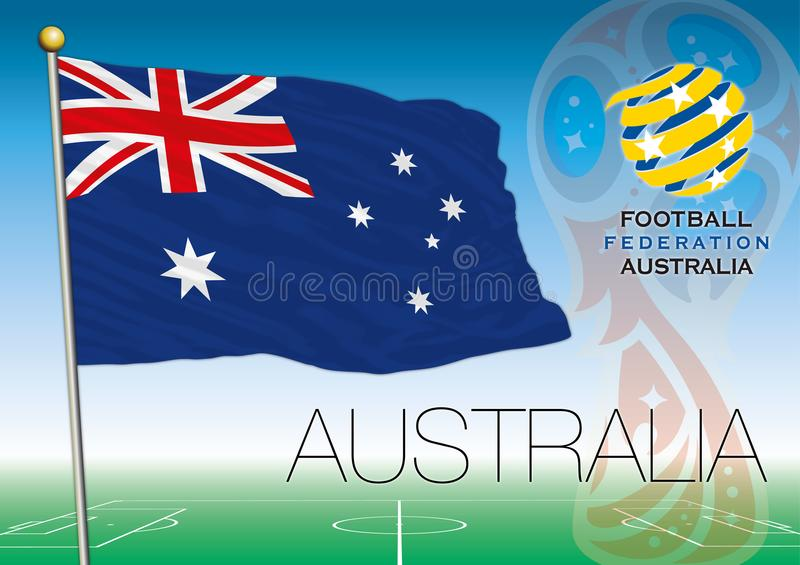 MOSCOW, RUSSIA, june-july 2018 - Russia 2018 World Cup logo and the flag of Australia. Australia flag, Russia 2018 World Cup football, vector illustration