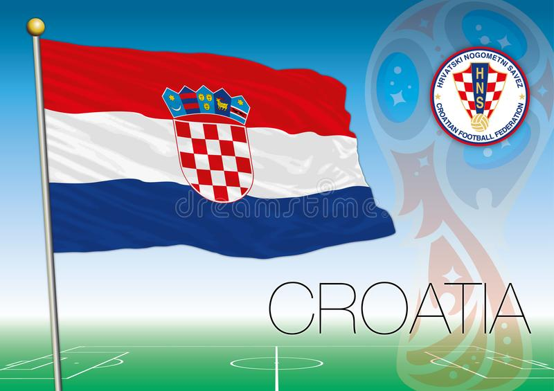 MOSCOW, RUSSIA, june-july 2018 - Russia 2018 World Cup logo and the flag of Croatia. Croatia flag, Russia 2018 World Cup football, vector illustration