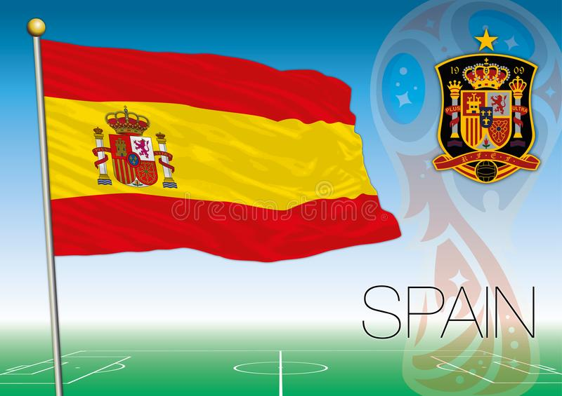 MOSCOW, RUSSIA, june-july 2018 - Russia 2018 World Cup logo and the flag of Spain. Spain flag, Russia 2018 World Cup football, vector file, illustration