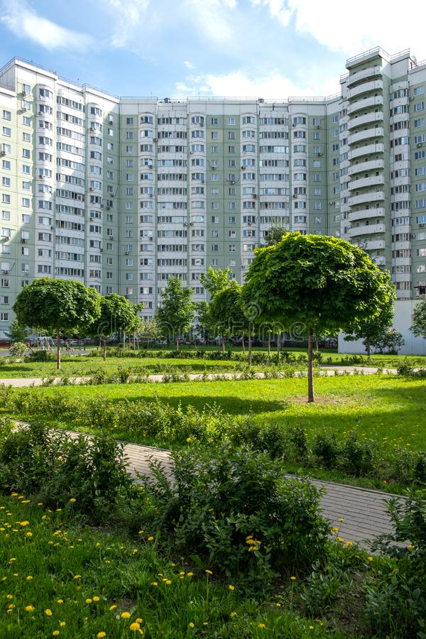 Moscow, Russia - June 2019. Clean, comfortable residential area. New, modern courtyard of an apartment building royalty free stock photography