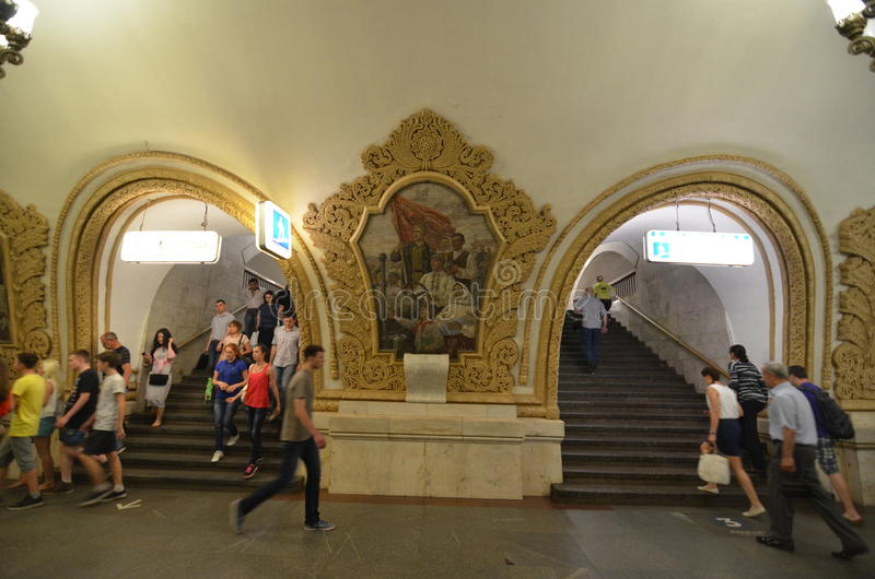 Moscow, Russia - June 15, 2015: The Most Beautiful Metro Stations in the World! royalty free stock photos