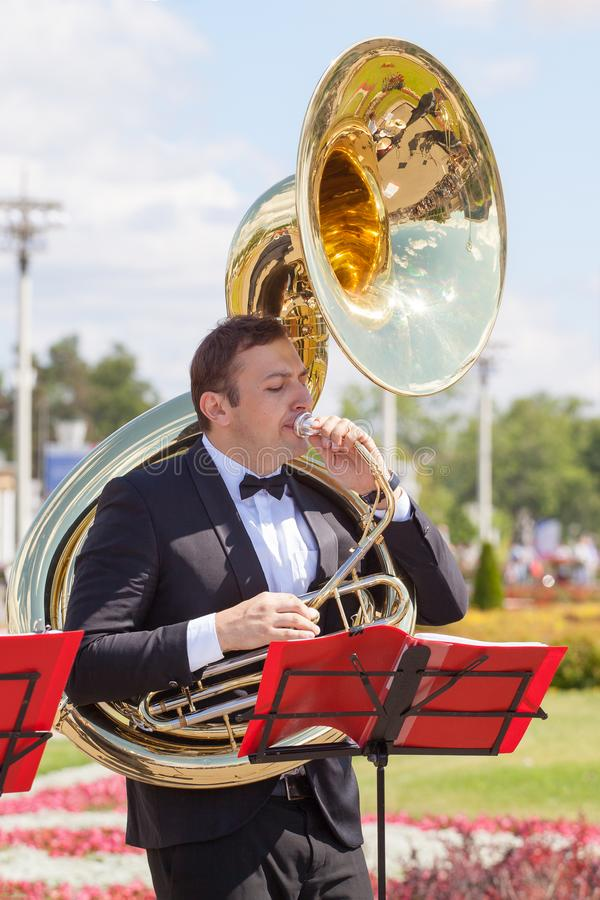 New Life Brass band classical quintet of brass wind musical instruments, orchestra performs music, man musician plays sousaphone stock image