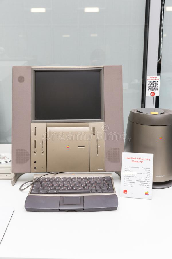 MOSCOW, RUSSIA - JUNE 11, 2018: Old original Apple Mac computer in museum in Moscow Russia royalty free stock photo