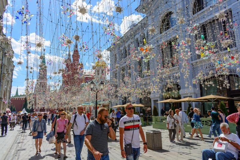 Moscow, Russia. June, 20, 2018:: People walk in Nikolskaya street - pedestrian street in the center of Moscow. Moscow, Russia. June, 20, 2018:: People walk in royalty free stock image